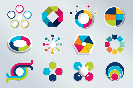 cyrcle: Set of circle infographics. Element connected to circle banner, template, chart, infographic, step by step number option, layout. 3D cyrcle style.