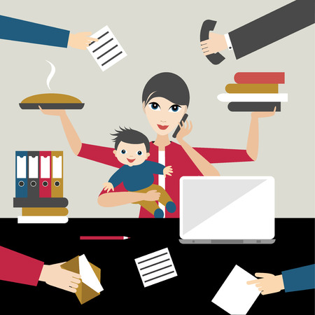 Working mother with child in business offiice. Multitasking person. Flat vector. Vectores