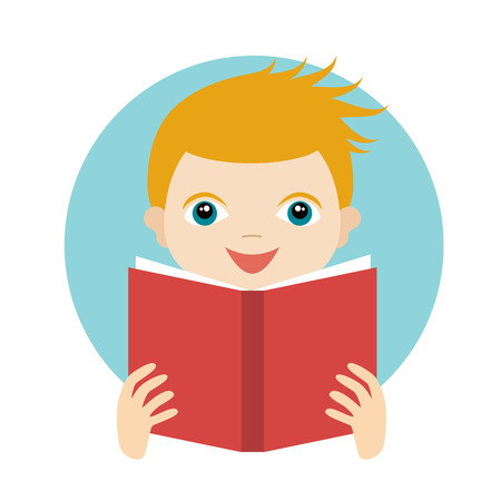 cute little boy: Little cute boy reading a book. Flat vector.