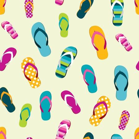 Flip flop color summer pattern. Seamless repeat pattern, background. Cartoon flat illustration. 向量圖像
