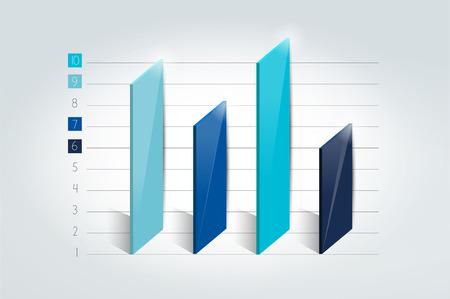 grafica de barras: gráfico de 3D, gráfica, bar. elemento de infografía.