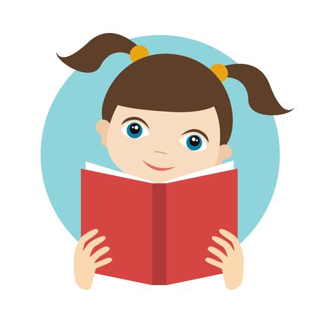 preschooler: Little cute girl reading a book. Flat vector.