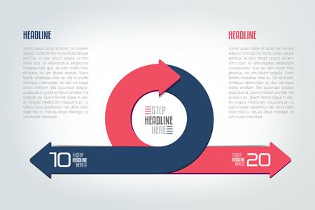 Okrąg, okrągły podzielony na dwie strzałki infograficzne. Szablon, schemat, diagram, wykres, wykres, prezentacja. Koncepcja biznesowa z 2 krokami, opcjami, procesami.
