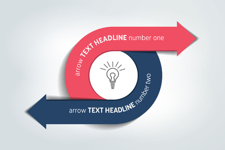 two arrows: Circle, round divided in two arrows. Template, scheme, diagram, chart, graph, presentation. Business concept with 2 steps, options, processes.