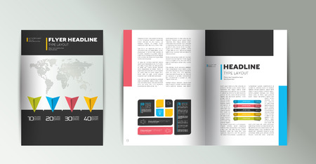 booklet: Booklet page layout. Minimalistic magazine, brochure, flyer, annual report template.
