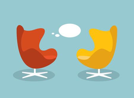 Ilustración vectorial de un concepto de comunicación y discusión. armchaichr retro con globo de conversación. ilustración vectorial diseño plano.