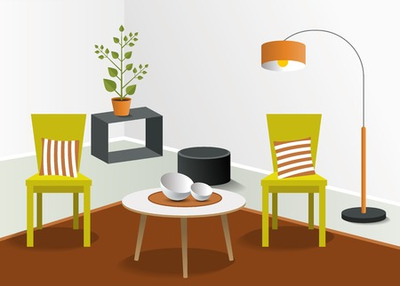 living room design: 3D living room design. Minmalistic real modern design. Vector.
