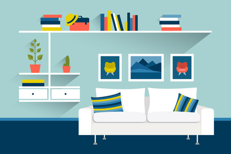 living room sofa: Living room with sofa and book shelves. Flat design vector illustration.