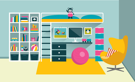 bunk bed: Kids room. Children furniture with bunk bed and table. Flat design vector illustration. Illustration