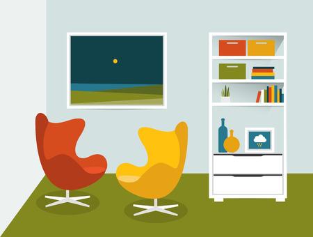 vector illustration: Living room interior. Flat design vector illustration. Illustration