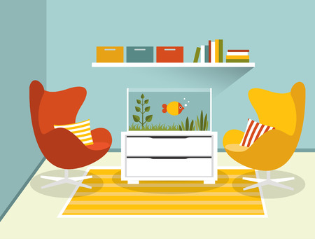 red and blue: Living room interior with armchairs and aquarium. Flat design vector illustration.