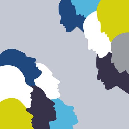 creative brain: Talking concept. People profile head in discussion.