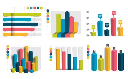 charts and graphs: Set of charts, graphs. Simply color editable. Infographics elements. Illustration