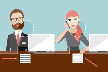 Los empleados, jobholders empleado de un banco. vector plana.
