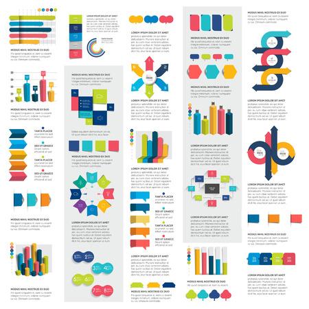 Mega set of infographics elements charts, graphs, circle charts, diagrams, speech bubbles. Flat and 3D design. Vector.