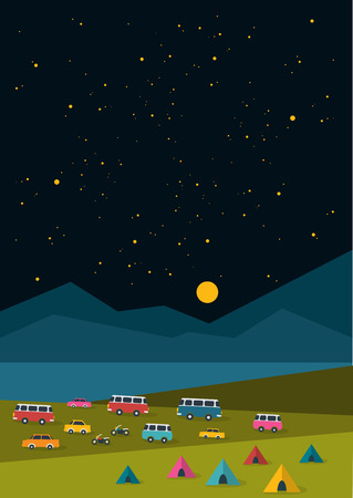 night background: Summer night festival, party music poster, background with retro cars, vans, buses and tent field. Flat design.