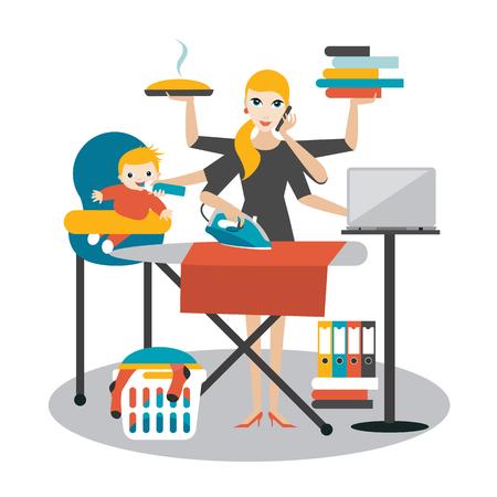 Multitasking Frau. Mutter, Geschäftsfrau mit Baby, Bügeln, arbeiten, coocking und ruft.