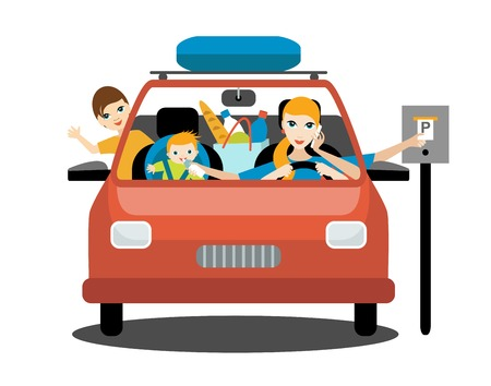 Multitasking woman, mother driving car with a hungry baby, older son, talking a phone. Flat vector.