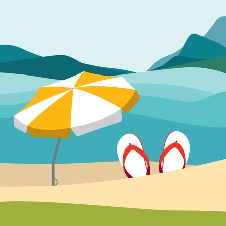 red umbrella: Summer beach with color flip flops and red umbrella. Flat summer design illustration. Summer vector.