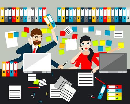 Employees, jobholders making multitasking job in business office. Flat vector. Vectores