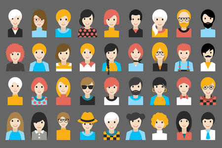 blonde: Mega set of diverse people heads, avatars. Different clothes, hair styles. Flat stylized cartoon vector. Illustration