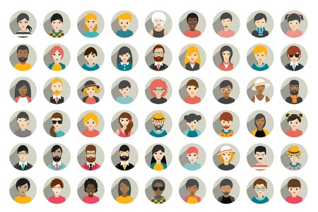 Mega set of circle persons, avatars, people heads different nationality in flat style. Vector.