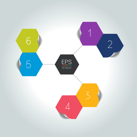 sections: Network connected speech diagram. Hexagon presentations with text box. Infographic.  6 step design. Vector illustration.