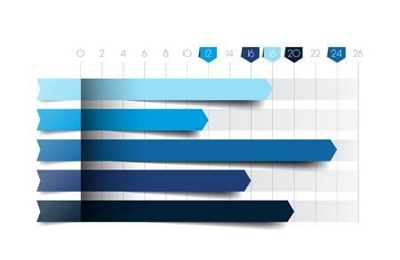 trend: Flat chart, graph. Blue color. Infographics business elements. Illustration
