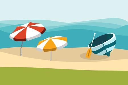 Sommer Strand mit Farbe Regenschirme. Flaches Design.