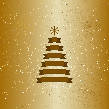 gold tree: Christmas gold tree with snow flakes card.