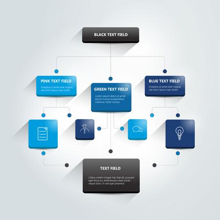 Diagrama de flujo de Infografía. Color sombras esquema.
