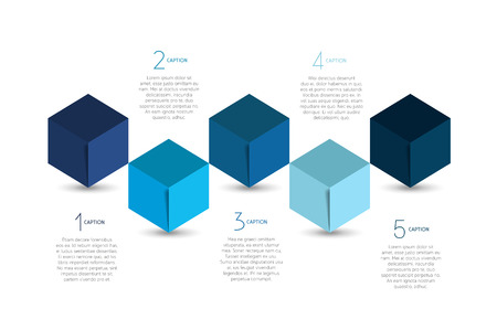 cube box: Cube infographics options banner, template, scheme, chart, text layout. Five step design. Vector illustration. Illustration