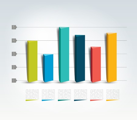 d data: 3D design graph. Infographics chart.