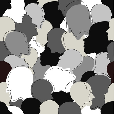 Naadloos patroon van een menigte van veel verschillende mensen profielkoppen. Vector achtergrond.