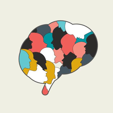 mente humana: El cerebro humano, la mente llena de cabeza de la gente. Vectores