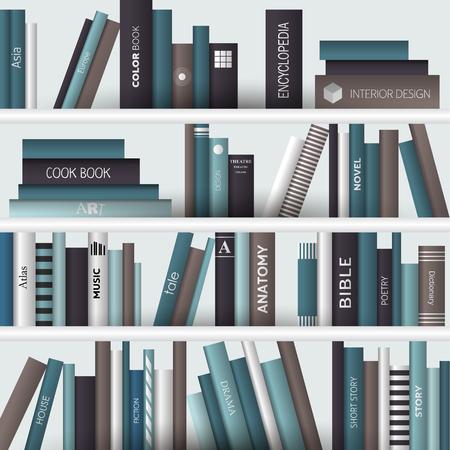 estante de libros. Ilustración vectorial realista. Bookstore interior.