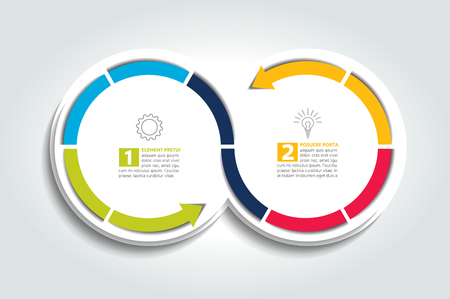arrow circles: Two connected Arrow circles. Infographic Element.