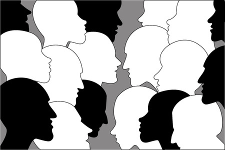 dispute: Human profile head in dialogue. Black and white silhouettes.