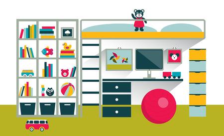 Kids room. Children furniture with bunk bed and table. Flat design vector illustration. Illustration
