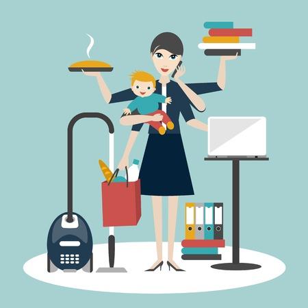 Multitaskingu žena. Matka, podnikatelka s dítětem pracovat, coocking a volání.