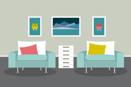 living room design: Living room with armchairs and pictures. Flat design vector illustration.