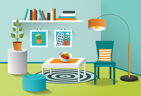 living room design: Interior living room. Mpdern minimalism design. Art cartoon vector.