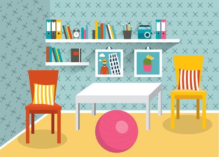 living room design: Retro interior design. Living room. Flat design.
