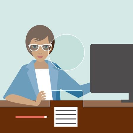bank office: Woman clerk in a bank office. Flat vector.