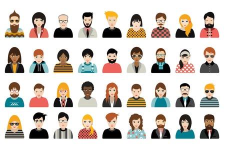 Mega conjunto de personas, avatares, la gente se dirige nacionalidad diferente en estilo plano. Vector.