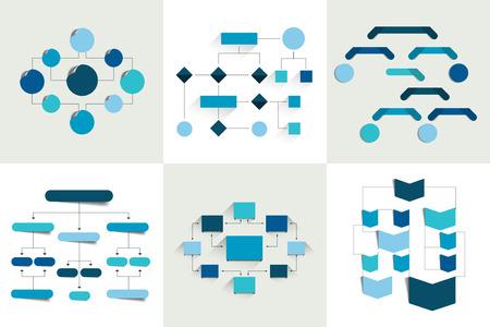 schemes: Flowcharts. Set of 6 flow charts schemes, diagrams. Simply color editable. Infographics elements.