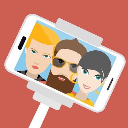 trio: Three friends making summer selfie photo. Vector cartoon illustration. Illustration