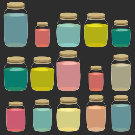 glass jars: Drink jar pattern. Handdrawn cartoon pattern with glass jars isolated on black. Vector illustration.