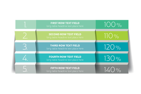 Table, schedule design template with 5 row. Vector banner. Illustration