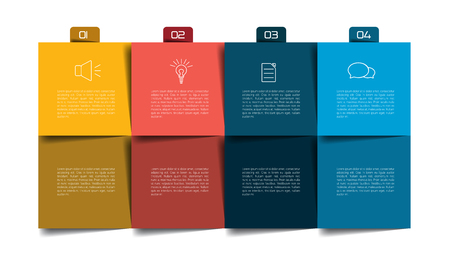 organizer: Table, schedule, organizer, planner, notepad, timetable. Step by step template, infographic. Illustration